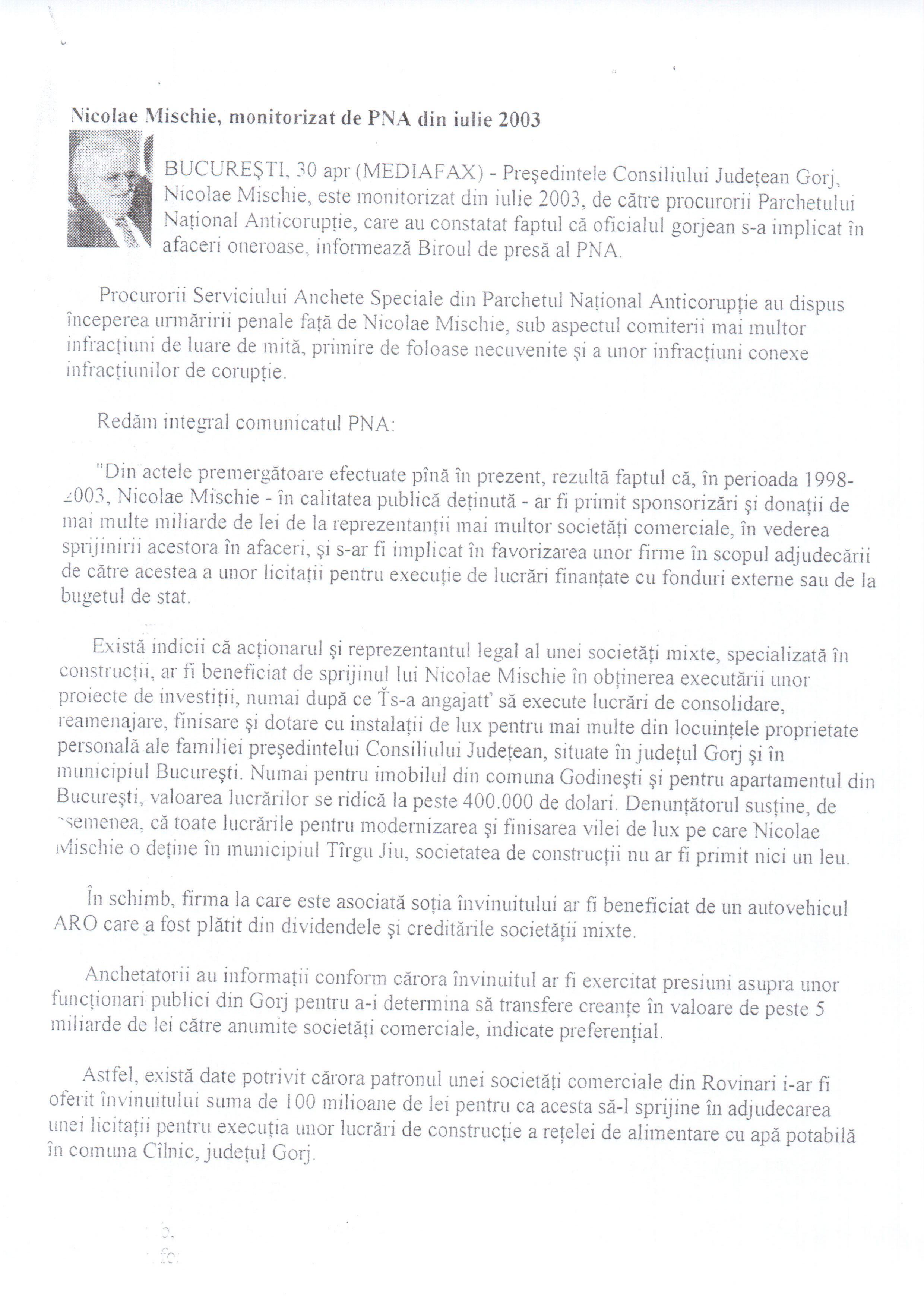 Nicolae Mischie, monitorizat de PNA din Iulie 2003