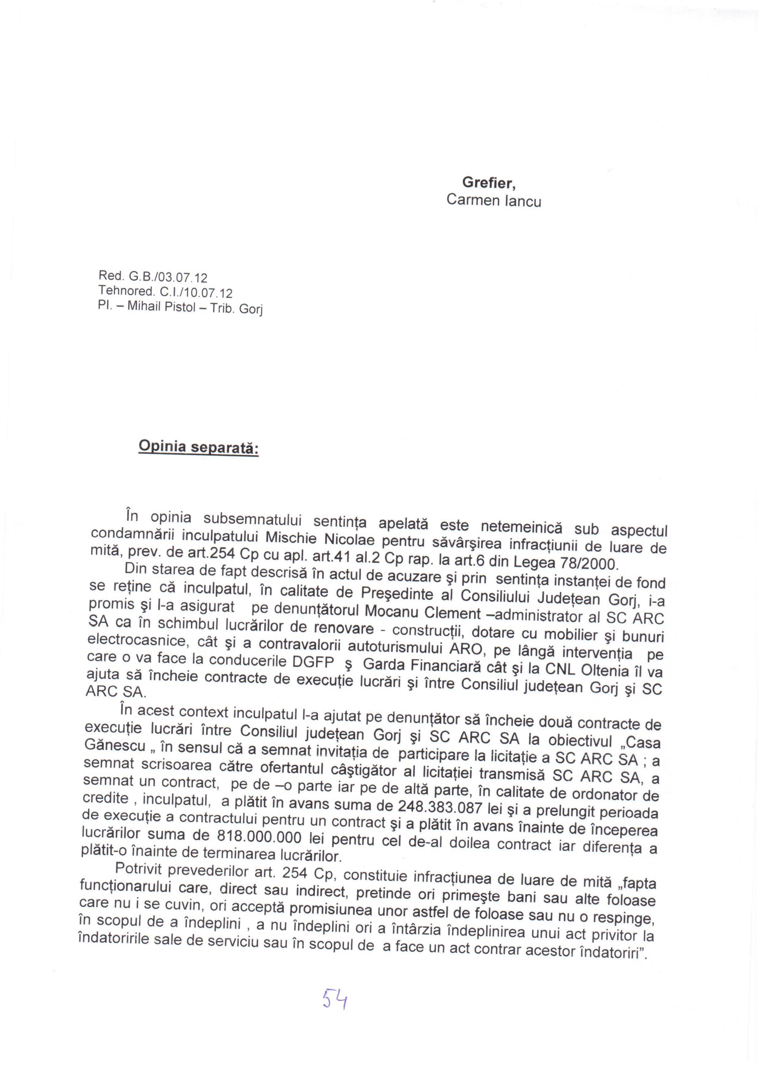 Opinie separata Judecator Constantin Costea